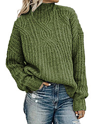 cheap -Women's Solid Colored Pullover Long Sleeve Loose Sweater Cardigans Round Neck Fall Winter Black Blue Green