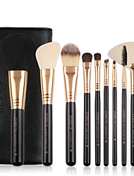 cheap -10pcs Synthetic Makeup Brushes Set Durable Wooden Handle Cosmetic Kit Concealer Powder Eye Shadow Fan Brushes For Make Up