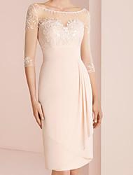 cheap -Sheath / Column Mother of the Bride Dress Elegant Illusion Neck Jewel Neck Knee Length Chiffon 3/4 Length Sleeve with Pleats Embroidery 2020 / Illusion Sleeve