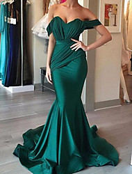 cheap -Mermaid / Trumpet Reformation Amante Sexy Engagement Formal Evening Dress Sweetheart Neckline Sleeveless Sweep / Brush Train Charmeuse with Sleek Draping 2021