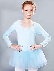 cheap -Ballet Dress Lace Bow(s) Criss Cross Girls' Training Performance Long Sleeve High Spandex Lace Tulle