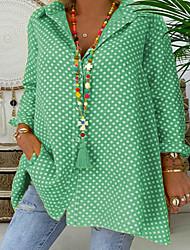cheap -Women's Plus Size Blouse Shirt Polka Dot Loose Tops Shirt Collar Blue Red Yellow