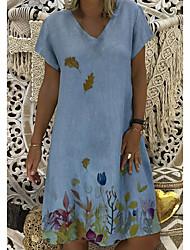 cheap -Women's A-Line Dress Knee Length Dress - Short Sleeves Print Summer Casual Chinoiserie 2020 Red Blushing Pink Khaki Light Blue S M L XL XXL XXXL XXXXL XXXXXL