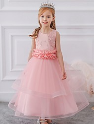 cheap -Princess / Ball Gown Ankle Length Wedding / Party Flower Girl Dresses - Tulle Sleeveless Jewel Neck with Sash / Ribbon / Bow(s) / Appliques