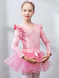 cheap -Ballet Skirts Leotard Lace Bow(s) Ruching Girls' Training Performance Long Sleeve High Spandex Lace Exotic Dancewear Pink Blue Purple