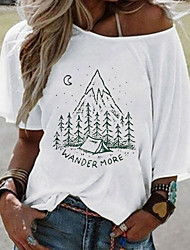cheap -Women's T-shirt Graphic Tops Off Shoulder Loose Cotton Daily Summer White Yellow Blushing Pink S M L XL 2XL