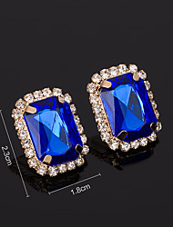 cheap -Women's AAA Cubic Zirconia Earrings Princess Square Mini Stylish Luxury Platinum Plated Gold Plated Earrings Jewelry Black / Gold / Light Red / Green For Wedding Daily 1 Pair