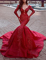 cheap -Mermaid / Trumpet Sexy Sparkle Engagement Formal Evening Dress V Neck Long Sleeve Chapel Train Sequined with Sequin 2020
