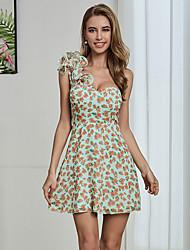 cheap -Women's A-Line Dress Short Mini Dress - Sleeveless Floral Ruffle Patchwork Summer Elegant Sexy Holiday Beach 2020 Light Green S M L