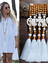 cheap -Women's Necklace Long Necklace Tassel European Trendy Ethnic Fashion Wood Stone 90 cm Necklace Jewelry For Street Birthday Party Beach Festival