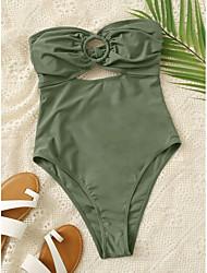 cheap -Women's One Piece Bikini Swimsuit Green Swimwear Underwire Strapless Bathing Suits
