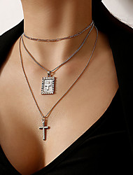 cheap -Women's Boys' Pendant Necklace Stacking Stackable Cross Punk Chrome Iron Gold Silver 30 cm Necklace Jewelry For Street