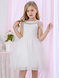 cheap -Princess / Two Piece / Ball Gown Medium Length Wedding / Event / Party Flower Girl Dresses - Lace / Satin / Tulle Sleeveless Jewel Neck with Pearls / Beading / Solid