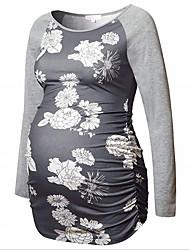 cheap -Women's Blouse Maternity Geometric Tops Round Neck Daily Fall Blue Gray S M L XL 2XL