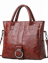 cheap -Women's Bags PU Leather Satchel Top Handle Bag Zipper Chain Solid Color Leather Bags Daily Black Brown