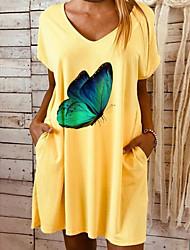Недорогие -Жен. Платье-футболка ひざ丈ドレス - Короткие рукава С принтом Лето На каждый день Шинуазери (китайский стиль) 2020 Желтый S M L XL XXL XXXL