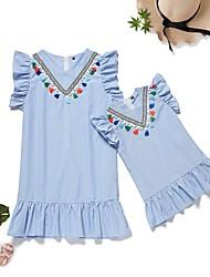 cheap -Mommy and Me Basic Sweet Striped Ruffle Tassel Fringe Short Sleeve Knee-length Dress Light Blue