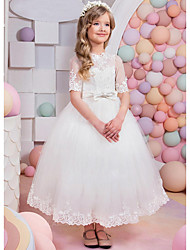 cheap -A-Line Floor Length Party / Wedding Flower Girl Dresses - Lace / Satin / Tulle Short Sleeve Jewel Neck with Bow(s) / Appliques / Solid