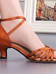 cheap -Women's Latin Shoes PU Buckle Heel Thick Heel Dance Shoes Dark Brown / Black / khaki