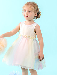 cheap -Ball Gown Medium Length Wedding / Holiday Flower Girl Dresses - Satin / Tulle Sleeveless Jewel Neck with Pleats / Beading / Trim
