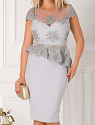 cheap -Sheath / Column Mother of the Bride Dress Elegant Illusion Neck Knee Length Stretch Satin Short Sleeve with Sash / Ribbon Beading Embroidery 2020