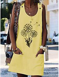 cheap -Women's A Line Dress Short Mini Dress White Blue Yellow Orange Sleeveless Print Summer Round Neck Casual Cotton 2021 S M L XL XXL