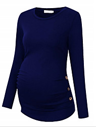 cheap -Women's Blouse Maternity Solid Colored Tops Round Neck Daily Fall Wine Blue Green S M L XL 2XL / Long