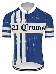 cheap -21Grams Men's Short Sleeve Cycling Jersey Spandex Polyester Blue / White Retro Solid Color Bike Jersey Top Mountain Bike MTB Road Bike Cycling UV Resistant Breathable Quick Dry Sports Clothing Apparel