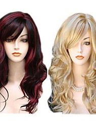 cheap -Synthetic Wig Wavy Wavy With Bangs Wig Long Red Blonde Synthetic Hair Women's Highlighted / Balayage Hair Side Part Red