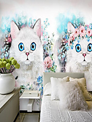 cheap -Custom Self-adhesive Mural Flower Cat Suitable for Background Wall Restaurant Bedroom Hotel Wall Decoration Art Home Decoration