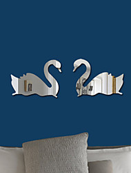 Недорогие -2 шт. Лебедь акриловые 3d зеркало наклейки на стены декоративные красный черный золотой синий серебристый