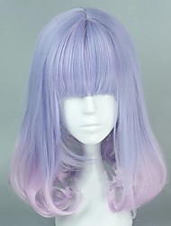 cheap -Cosplay Wig Lolita Straight Cosplay Halloween Middle Part With Bangs Wig Long Ombre Blue Synthetic Hair 18 inch Women's Anime Cosplay Ombre Hair Mixed Color