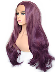Недорогие -фиолетовый фиолетовый натуральная волна синтетический парик фронта шнурка ежедневно носить для женщин