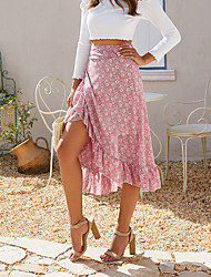 cheap -Women's Swing Skirts - Floral Yellow Blushing Pink Green S M L