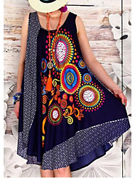 cheap -Women's Sundress Knee Length Dress - Sleeveless Print Patchwork Print Summer Casual Boho Vacation Going out Loose 2020 Black Red Gray S M L XL XXL XXXL XXXXL XXXXXL