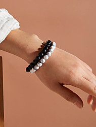 cheap -2pcs Couple's Bead Bracelet Vintage Bracelet Bracelet Beaded Fashion Classic Vintage Trendy Casual / Sporty Fashion Stone Bracelet Jewelry Black+White For Party Evening Gift Date Beach Festival