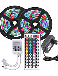 cheap -10M (2*5M) LED Strip Lights RGB Tiktok Lights 3528 600led Strips Lighting Color Changing with 44 Key IR Remote Ideal for Home Kitchen Christmas TV Back Lights DC 12V