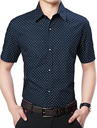 cheap -Men's Polka Dot Shirt Basic Daily Classic Collar White / Navy Blue / Light Blue / Short Sleeve