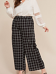 cheap -Women's Basic Loose Wide Leg Pants - Plaid / Checkered Black XL / XXL / XXXL