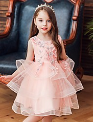 cheap -Princess / Ball Gown Knee Length Wedding / Party Flower Girl Dresses - Satin / Tulle Sleeveless Jewel Neck with Bow(s) / Beading / Tier