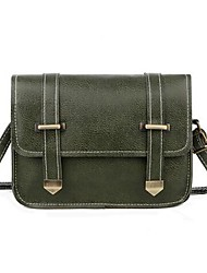 cheap -Women's PU Leather Crossbody Bag Leather Bag Solid Color Wine / Khaki / Dark Green / Fall & Winter