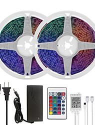 Недорогие -Mashang светодиодные полосы света 32.8ft 10m RGB TIKTOCK водонепроницаемый 300leds smd 5050 с 24 клавишами ик-пульта дистанционного управления и 100-240 В адаптер для домашней спальни кухня
