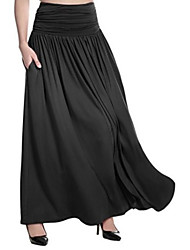 cheap -Women's Swing Skirts - Solid Colored Black Fuchsia Light gray S M L