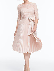 cheap -A-Line Mother of the Bride Dress Elegant Illusion Neck Jewel Neck Tea Length Chiffon Lace 3/4 Length Sleeve with Bow(s) Pleats Embroidery 2020