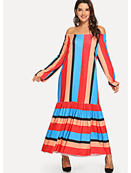 cheap -Women's Trumpet / Mermaid Dress Maxi long Dress - Long Sleeve Striped Backless Ruffle Ruched Spring Summer Casual Boho Holiday Going out 2020 Orange S M L XL