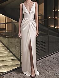 cheap -Sheath / Column Reformation Amante Sexy Engagement Formal Evening Dress V Neck Sleeveless Floor Length Charmeuse with Sleek Draping Split 2021