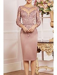 cheap -Sheath / Column Mother of the Bride Dress Elegant Plus Size Bateau Neck Knee Length Lace Satin 3/4 Length Sleeve with Ruffles 2020