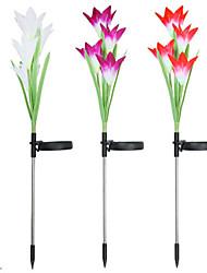 cheap -Solar Energy Lily Lantern Color Gradient 4LED Ground Lamp Garden Lamp Courtyard Lamp Lawn Lamp Simulation Flower 3PCS