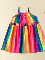 cheap -Kids Girls' Active Cute Rainbow Print Sleeveless Knee-length Dress Rainbow