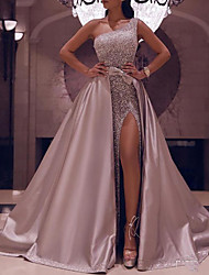 cheap -Ball Gown Elegant Sparkle Party Wear Prom Dress One Shoulder Sleeveless Floor Length Satin with Bow(s) Sequin Split 2020
